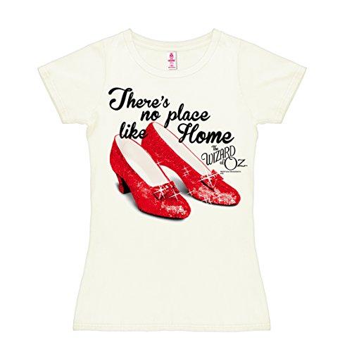 Logoshirt - El Mago de Oz - Realmente No Hay Lugar como el Hogar - Camiseta para Mujer - Blanco Antiguo - Diseño Original con Licencia, Talla M