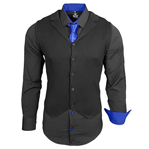 Rusty Neal Herren Hemd Weste Krawatte Set Hemden Business Hochzeit Freizeit Slim Fit, Größe:S, Farbe:Schwarz/Sax
