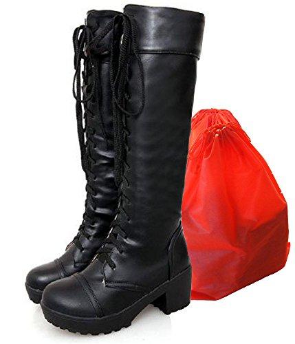 『Mille Ti Rana 編み上げ レースアップ 厚底 ロング ブーツ 黒 26 26.5 27 27.5 大きいサイズ 収納袋 2点セット 26cm』の1枚目の画像