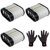 3 filtros de aire Febi Bilstein 49347 + 1 guantes de montaje de agarre fino, talla 9/L