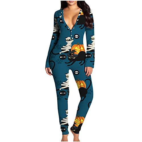 Pijama para mujer, mono con parte trasera de un solo color, pijama para mujer, pijama de pijama o para casa, modelo: cuello en V, manga larga, con solapa, sexy, largo y cmodo