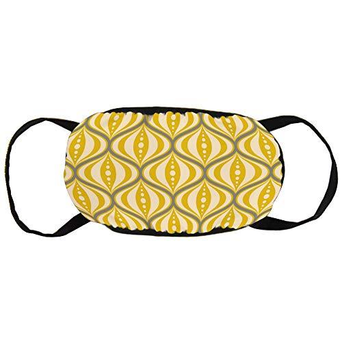 Gesichtsmaske mit schwarzen Ohren, Baumwolle, Retro-Stil, gelbe Untertasse, weich, leicht zu tragen, für Damen und Herren