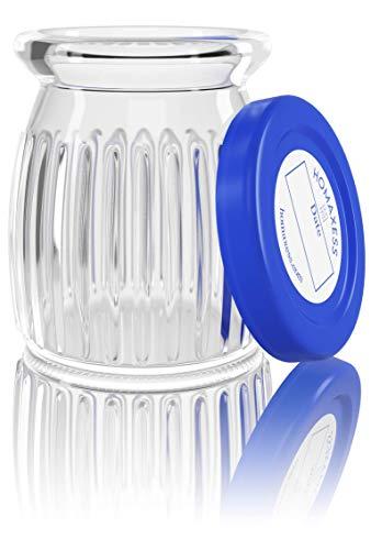 Homaxess – 6 tarros de yogur de cristal | Compatible con cualquier yogurtera | Tapa de Dater | Capacidad 150 ml | BPA libre | Paquete sin plástico