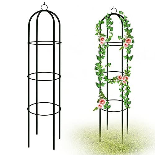 YAOBLUESEA Rankobelisk Spalier 190 x 40 x 40 cm Rankhilfe Rankgitter Beschichtetes Metall Garten Rose Decor Trellis für Kletterpflanzen, Kletterhilfe, Ballon, Rosen und Blumen (Grün)