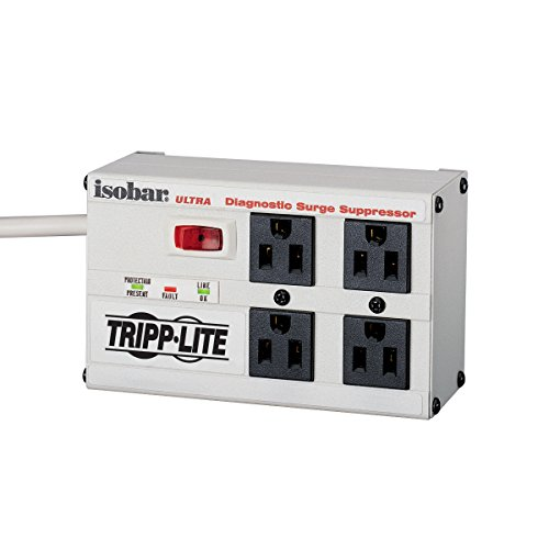 Tripp Lite ISOBAR4ULTRA Isobar 4 Outlet Surge Protector Power Strip, 6ft Cord, Right-Angle Plug, Metal, Lifetime Limited Warranty & Dollar 50,000 Insurance White