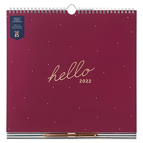 Busy B Weekly Family Calendar January to December 2022. Berry Spot Week to View Calendar with 6 Columns for Family Members & Birthdays, Meal Planner, Tear-Off Shopping Lists, Pocket and Pen