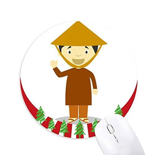Bambus Hut Vietnam Cartoon Round Rubber Mouse Pad Weihnachtsdekoration