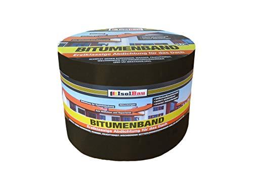 10 m x 150 mm IsolBau Aluminium Bitumenband Dachreparatur Aluminiumband Reparaturband Dach Aluband Selbstklebende Farbe: Schwarz