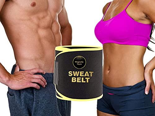 Magically Yours Sweat Belt for Women Tummy Shaper, Tummy Trimmer Sweat Belt Waist Trimmer, Premium Waist Trainer Belt for Men & Women, Slim Belt Supports Lower Back Belly Belt Black