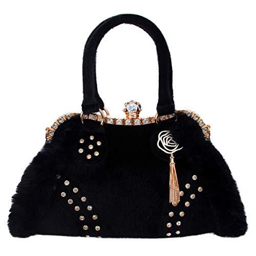Fawziya Fur Leather Women Handbags Crystal Rose Tassel Bags for women-Black