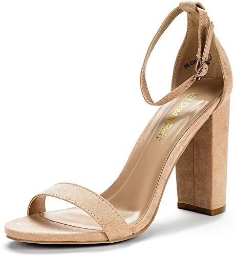 DREAM PAIRS Women's Hi-Chunk Nude Suede High Heel Pump Sandals - 7.5 M US