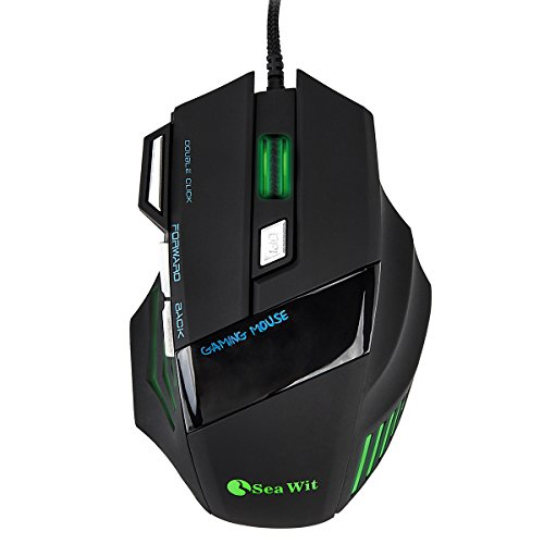 Sea Wit RGB USB Wired Gaming Mouse Up to 3200DPI,4 DPI Adjustment Levels and 3000FPS,7 Buttons,Colorful Breathing LED,Skin-Friendly Material,4.9ft(1.5m) Full Copper Braided Wire, for PC/Laptop