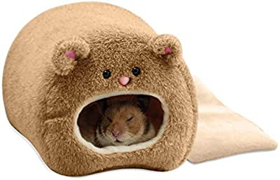 Handmade Hamster House Small Animals Bed Plush Hammock for Guinea Pig Warm Soft Bed, Warm Mini House for Baby Cat Rat Mouse Rabbit (Brown) from fushida