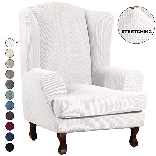 Turquoize Wing椅Slipcover Weveback扶手椅吊索套沙发覆盖2件氨纶面料翼翼卫扶手椅悬挂式套装(翼椅,灰灯椅,灰白色)