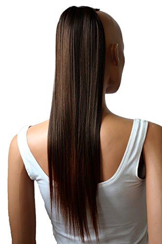 Prettyshop - Extensiones de pelo tipo cola de caballo de 60cm, resistentes al calor, diseño liso marrone mescolare # 2T30 HC16