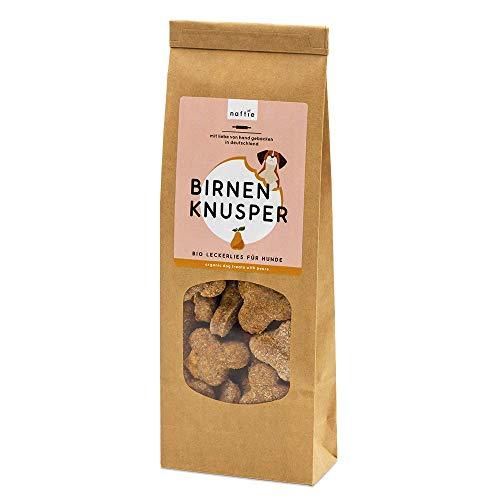 naftie Bio Leckerlies Birnen Knusper Hundekekse | nur für artige Hunde | vegane Hundeleckerli mit Dinkelvollkornmehl, Birnen, Leinsamen & Kokosöl | handgebacken | natürlich | ohne Zucker | 200g