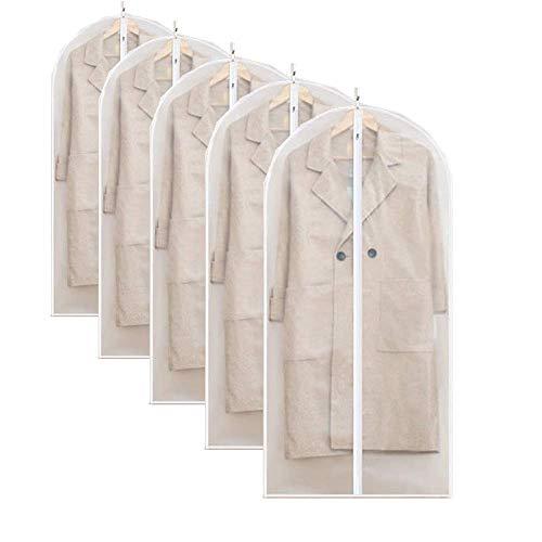 Winmany Paquete de 5 bolsas de ropa transparentes para colgar ropa EVA transpirable con cremallera completa para almacenamiento de ropa de armario, antipolvo e impermeable (24 x 55 pulgadas)