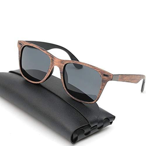 XXYQ Gafas de Sol polarizadas de imitación Madera para Hombres y Mujeres
