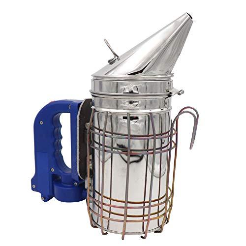 M.Z.A Fumador eléctrico de colmena de abejas para apicultor Pulverizador de humo de acero inoxidable con escudo térmico Máquina de humos de colmena de abejas
