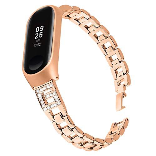 Fawyhr Reloj Correa Mujeres Delgado Diamante Rhinestone Joyas Pulsera Pulsera de Metal Correa de reemplazo (Color : Rose Gold)