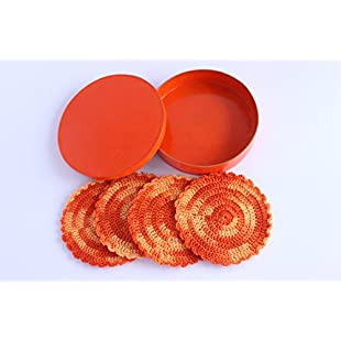 Handmade Knitted Round Orange Colour Coaster Table Protection Pattern Home Decor Set Of 4:Eventmanager