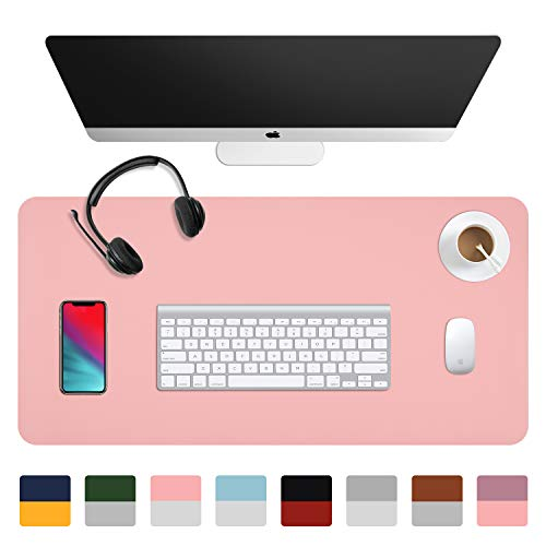 "Dual-Sided Desk Pad (31.5 x 15.7""), Waterproof Leather Office Desk Mat, PU Mouse Pad, Desk Cover Protector, Desk Writing Mat for Office/Home/Work/Cubicle (Pink/Silver)"