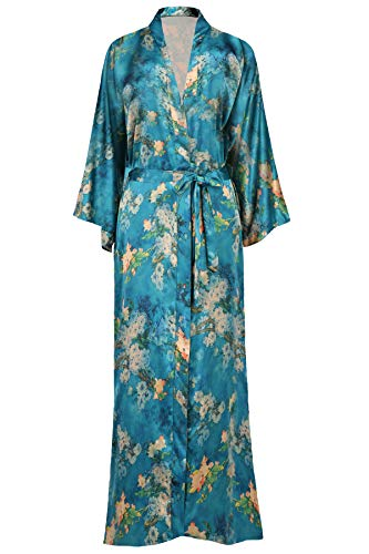 BABEYOND Womens Kimono Robe Long Floral Wedding Robes for Bridesmaids Satin Silk Kimono Nightgown Sleepwear 135cm Long (Plum Blossom-Malachite Green)