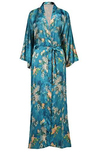ArtiDeco Damen Morgenmantel Maxi Lang Seide Satin Kimono Kleid Blüten Muster Kimono Bademantel Damen Lange Robe Blumen Schlafmantel Girl Pajama Party 135 cm Lang (Malachitgrün)