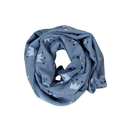 Hosaire Bebé Pañuelos de Cuello del Lino del bebé Unisex de la Bufanda para Niños Niñas Patrón de Big Star 150 * 30cm (Azul)