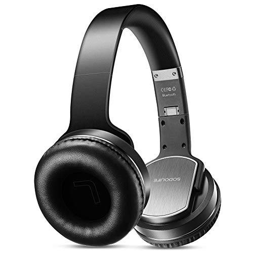 Bluetooth Kopfhörer und Lautsprecher 2 in 1, SODOLIFE Kabellose Kopfhörer mit Hi-Fi Stereo, UKW-Radio, TF-Karte Unterstützung, und verkabelte AUX-Wiedergabe mit Mikrofon für Handy TV PC Laptop - MH2