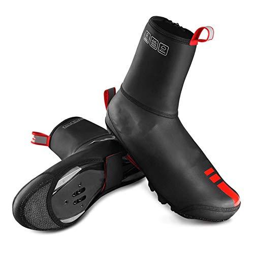 TEET Cubrezapatos de ciclismo para ciclismo, resistentes al viento, para invierno, térmicos, para hombres y mujeres, MTB, bicicleta de carretera, carreras, talla M, color negro