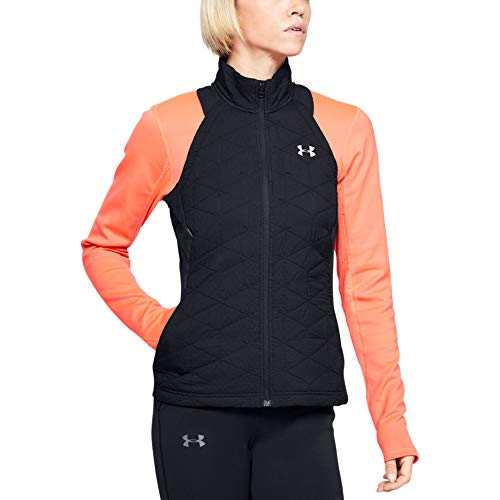 Under Armour Coldgear Reactor Run Insulated V Chaleco, Mujer, Negro (Black/Reflective 001), XL