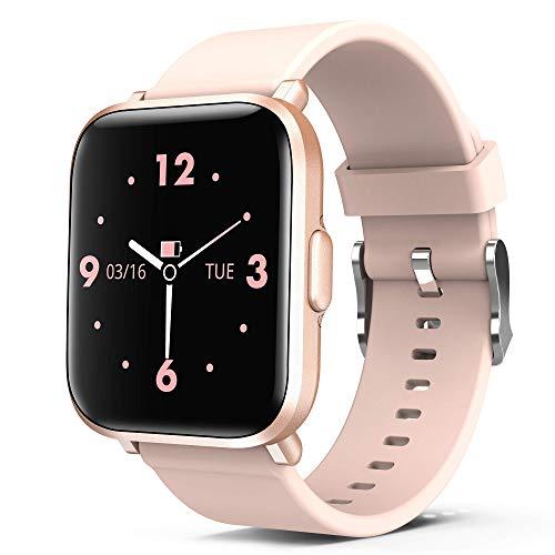 Reloj Inteligente Mujer Rosa, AITES Smartwatch Fitness 24H Monitor de Oxigeno(SpO2)/Ritmo Cardíaco/Sueño, 5ATM Impermeable Reloj GPS Running con 18 Modo Deportivos, Reloj Pantalla Táctil con Podómetro
