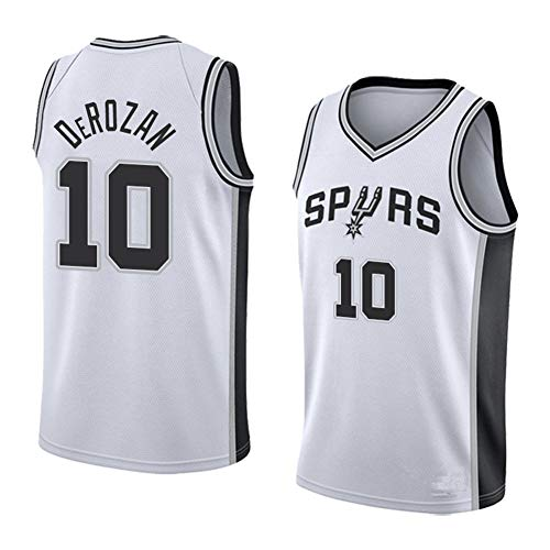 NBA San Antonio Spurs 10# Demar DeRozan Camiseta de Baloncesto Ropa Deportiva Camiseta sin Mangas Bordada Transpirable Light Sport Vest Top,Blanco,L