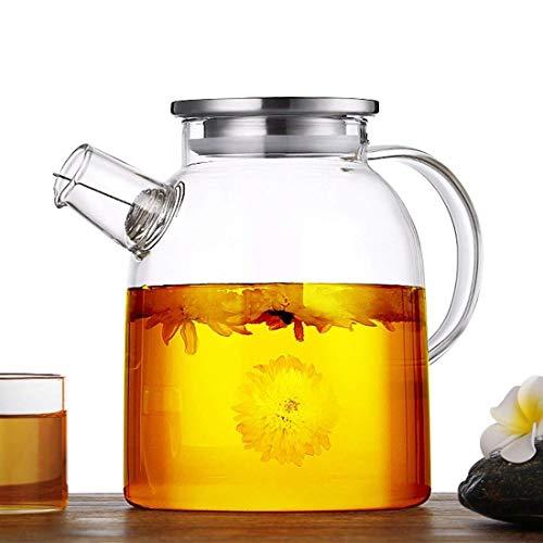 BAOWEN glazen waterkruik met roestvrijstalen deksel - grote capaciteit glazen theepot met veilige filterspoel Iced Tea Pitcher - 1600ml/56oz (gratis borstel en onderzetter inbegrepen)