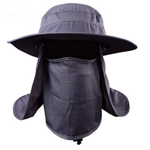 Bucket Hat Hut Tarnhut Mit Breiter Krempe Und Uv-Gesichtsschutz Aus Polyesterhutkappe Panama Darkgrey