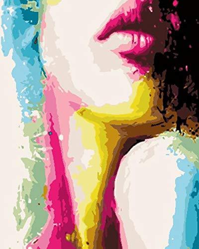 Pintar por Numeros Adultos Niños Color De La Cara DIY Pintura al óleo Kit con Pinceles y Pinturas para Niños Seniors Junior,Regalos de navidad y año nuevo -40x50 cm Sin Marco