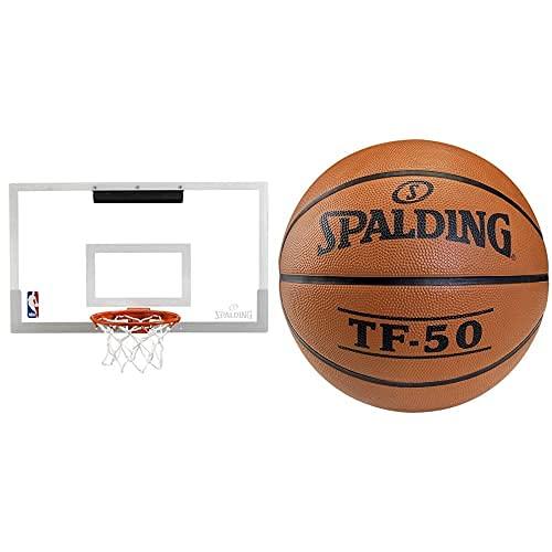 Spalding NBA Slam Jam Board - Tablero De Pared De Baloncesto, Color Incoloro, 45.5 X 26.7 Cm + Tf50 Outdoor 73-852Z - Pelota De Baloncesto, Color Naranja, Talla 5