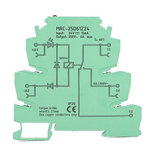 MRC-25D61Z24 Módulo de relé PLC ultrafino Entrada DC 24V TS-35 Riel DIN Placa de amplificador de relé PLC Salida AC 250V 6A para circuitos
