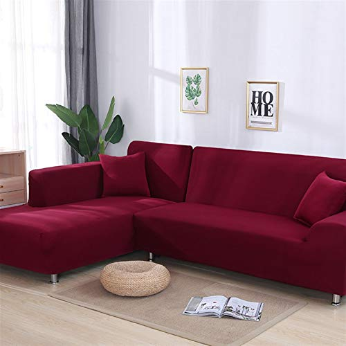 Color elástico gris Sofá Sofá Cubierta de Sofá Loveseat Cover Sofá Fundas para sala de estar Sofá seccional Sillón Sillón Cubierta de muebles ( Color : Wine red , Specification : 2seater and 2seater )