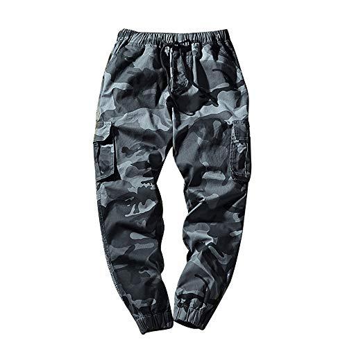 KPILP Hose Herren Dicke Haremshosen Mode Übergröße Tägliche Jeans Tarnung Neun Punkte Kleine Füße Lose Beiläufige Sportwear Chino(A-blau, 3XL