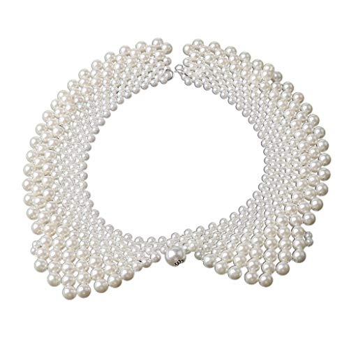 VVXXMO Damen-Halsband aus gewebtem Perlenimitat, ethnisch, handgefertigt, Kostüm, dekorativ, abnehmbar, Kleidungszubehör Gr. Einheitsgröße, weiß
