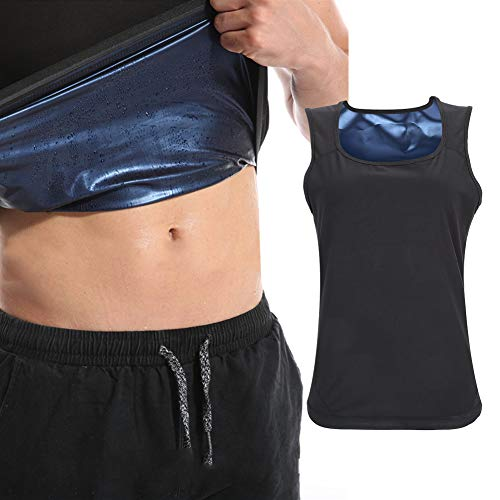 Sauna trainingsvest voor heren, tailletrainer voor gewichtsverlies, heren zweetvest tanktop shapewear, afslank trainingspak, fitness sauna training sneldrogend shapewear vest (L/XL)