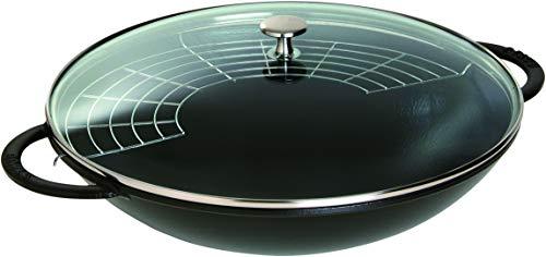 STAUB Gusseisen Wok, Inkl. Glasdeckel und herausnehmbaren Gittereinsatz, Induktionsgeeignet, Ø 37 cm, 5,7 L, schwarz