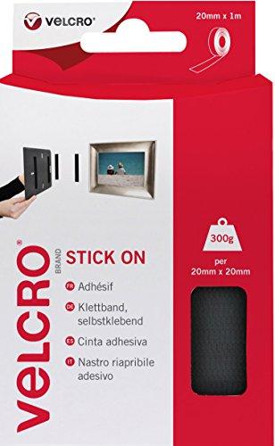 VELCRO Brand Cinta adhesiva 20mm x 1m Negro