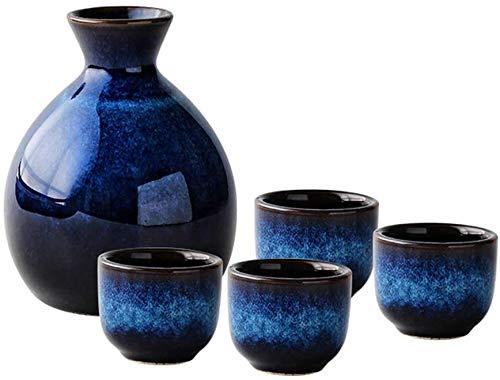 Wall Spotlights~mwsoz Sake-Set Botellas y Juegos de sakeJuego de Sake de Estilo japonés de 5 Piezas, artesanías Tradicionales de cerámica, Serie de Vino Azul, Ideal para el Sake japonés