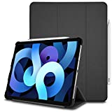 TECHGEAR Funda Compatible con iPad Air 4 2020 (10.9' Pulgadas) [Soporta Cargar Pencil] Carcasa con Soporte Plegable Triple con protección en la Esquina [Auto-Sueño/Estela] - Negro