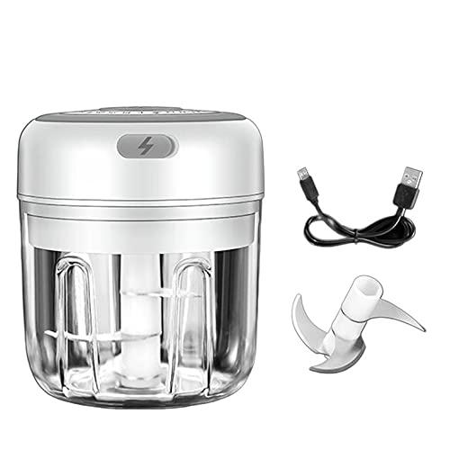 QiKun-Home Herramientas de Cocina para el hogar, Duradero, práctico y Conveniente, Recargable, Multifuncional, picadora de Verduras, picadora de Carne, Blanco, 250 ml