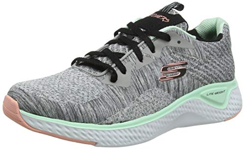Skechers Damen Solar Fuse-Brisk Escape Sneaker, Grey (Gray Knit Mesh/Black, Pink & Mint Trim Gymt),5 (38 EU)