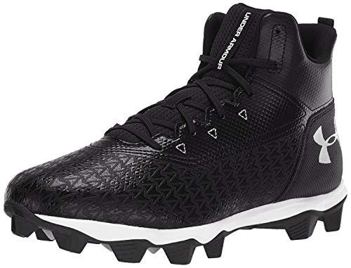 Under Armour Men's Hammer Mid RM Football Shoe, Black (002)/White, 10.5 M US